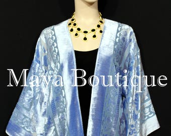 Light Blue Jacket Kimono Burnout Velvet Short No Fringe Hand Dyed Maya Matazaro