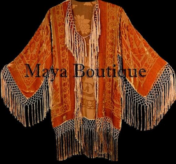 Orange Gold Burnout Velvet Silk Fringe Jacket kimono Long Coat Maya Matazaro