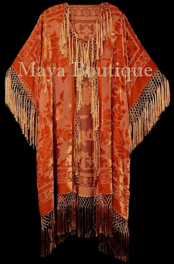Long Fringe Jacket Kimono Silk Burnout Velvet Wine Red Multi