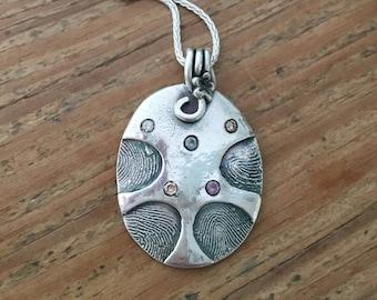 CUSTOM ~ Unique fingerprint birthstone pendant STERLING SILVER Mother's Day Gift, handmade
