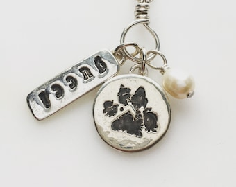 """CUSTOM ~ ACTUAL ink Pet Dog Cat PawPrint """"In memory"""" 3D digital print from 2D ink print - fine /sterling silver on sterling chain or leather"""