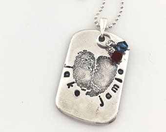 """CUSTOM ~ TWO Finger Print """"imperfect"""" heart pendant/keychain.  3D digital prints from 2D ink print - fine /sterling silver on sterling chain"""
