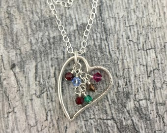 CUSTOM - Family Tree-Heart Mother Pendant 99% Fine Silver on Sterling Silver chain Mother's Day NewMom