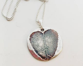 CUSTOM ~ TWO Finger Print NATURAL heart pendant or keychain.  3D finger prints from 2D ink print - fine /sterling silver on sterling chain