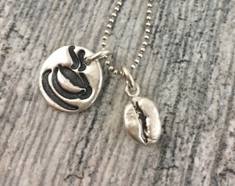 Coffee Fan!!  Sterling silver coffee bean replica and coffee cup charm