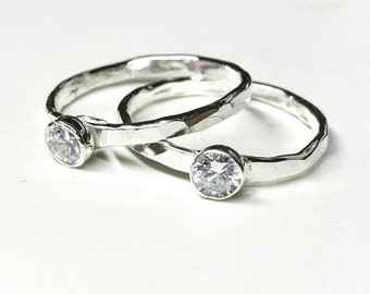 CUSTOM - Sterling Silver Stack Ring Skinny Birthstone