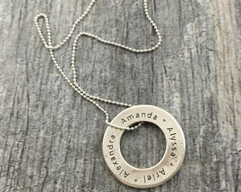 CUSTOM - word/name SINGLE disk (any font) made from eco-friendly .96 pure silver metal Art Clay