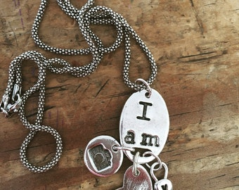 """TELL YOUR STORY ~ """"I Am"""" pendant with custom story telling charms on a sterling chain"""