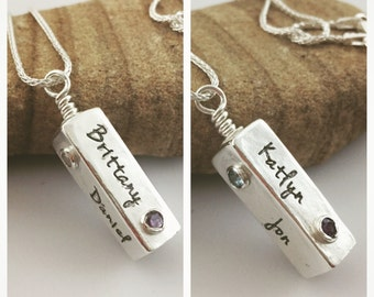CUSTOM - 3D Swivel Box Name / word pendant - Silver handmade pendant made from eco-friendly .999 pure Silver Metal Clay