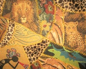 Crazy Quilt African design. Square for Sewing Project .Embroidered around each pieces 14 x 15 inches