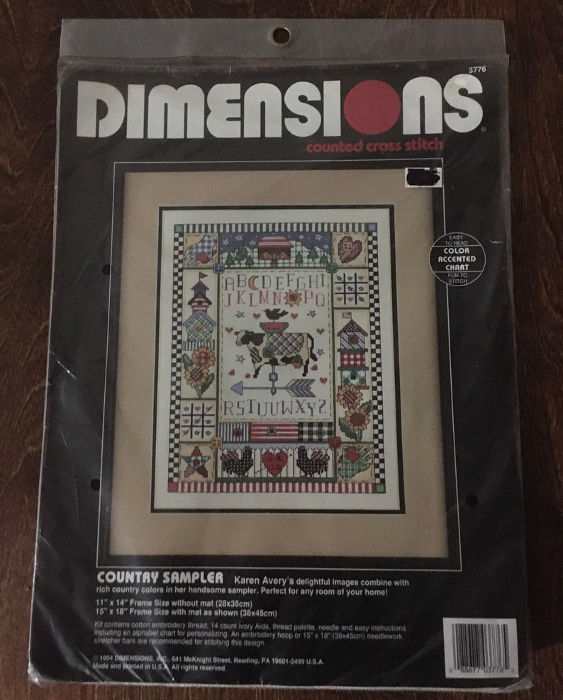 Vintage Dimensions Rare \u201cCountry Sampler counted cross stitch kit Hobbies Crafts Gifts