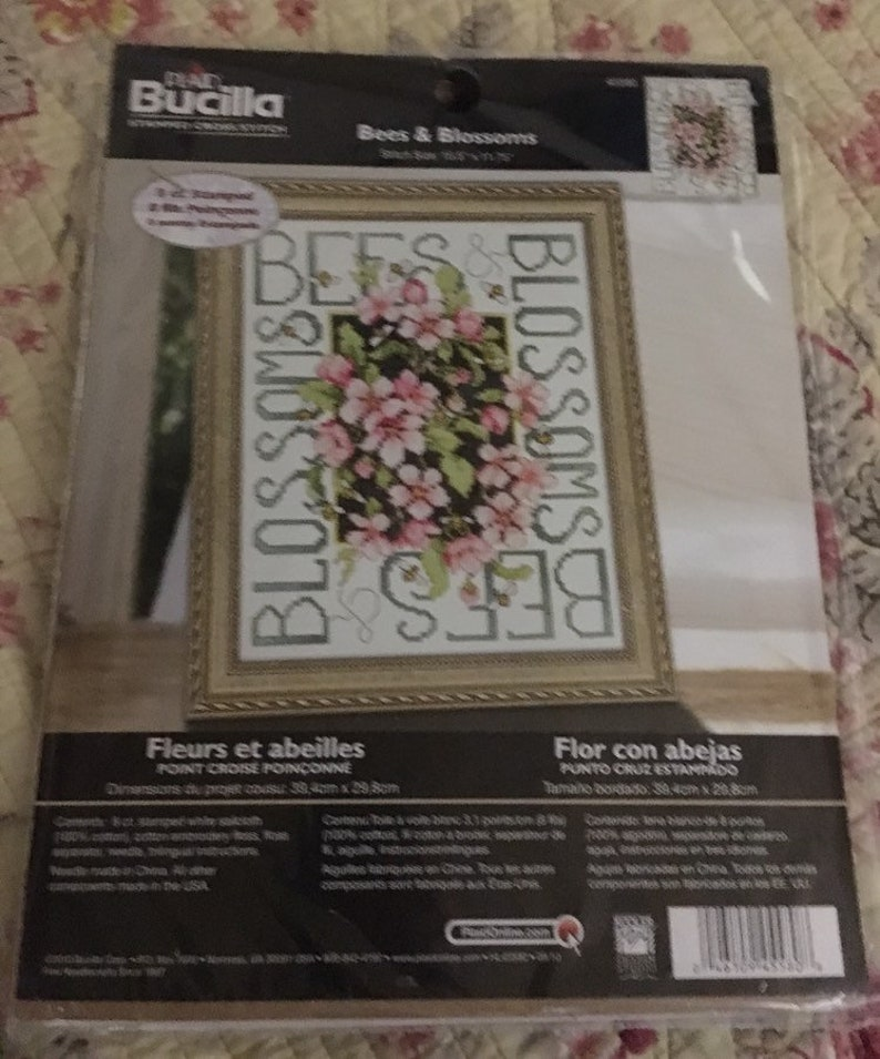 Bucilla Bees /& Blossoms Stamped Cross Stitch Kit  Hobbies Crafts Gifts