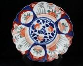 Antique 18th or 19th Century Japanese Imari Scalloped Edged Plate Blue Red Green Antique Japanese Imari Ware Japanese Porcelain