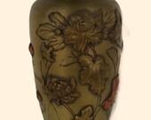 Antique Japanese Meiji Period Mixed Metals Brass Copper Chrysanthemum Floral Vase