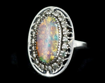 Beautiful antique plated silver edwardian art deco filigree engagement ring with pink paste gem  martelli  QKFTOO