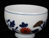 Antique 1800s Japanese Imari Footed Small Bowl Floral Blue Red Gold Design