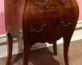Vintage Louis XV Italian Olive Wood Bombay Diminutive Bombay Commode Hand Made