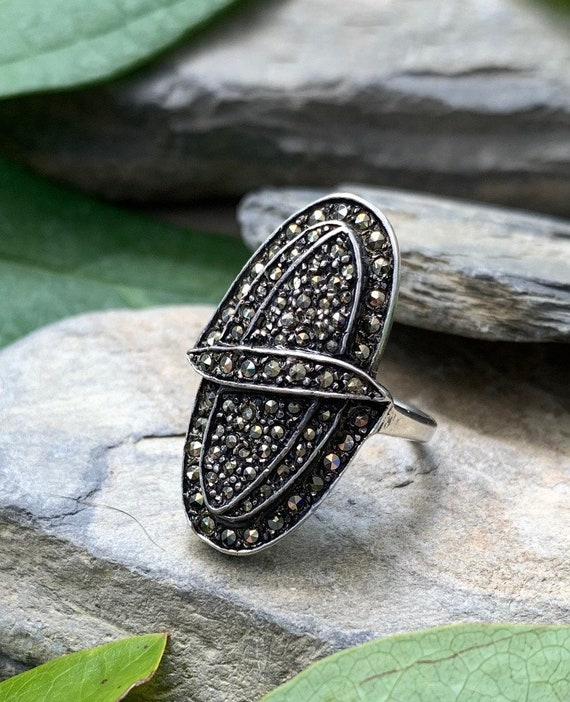 Antique Art Deco Sterling Silver Pave Marcasite Ov