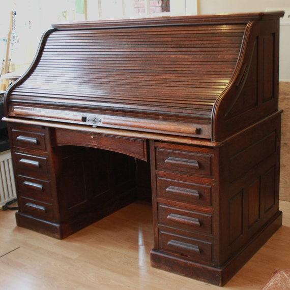 Best Antique 60 Oak S Curve Roll Top Desk Etsy