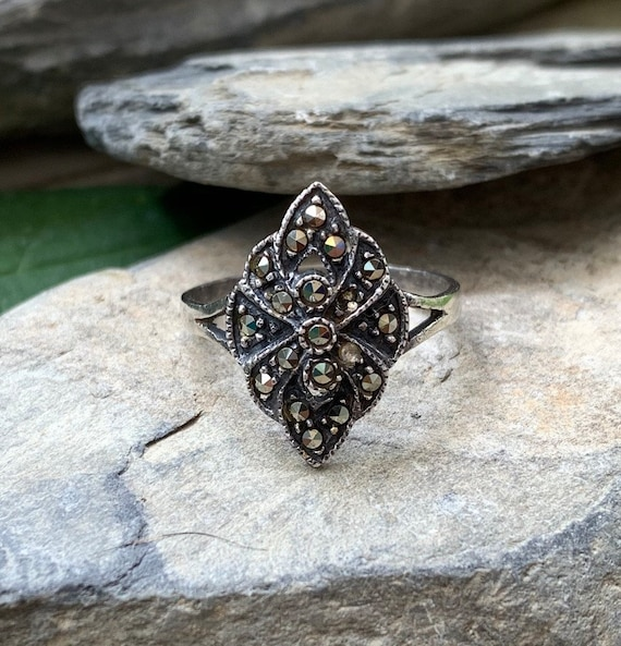 Vintage Art Deco Sterling Silver Marcasite Ring Si