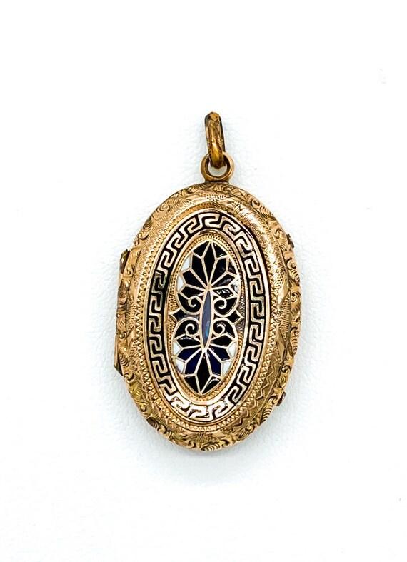 Antique 10k Gold Filled Victorian Enamel Greek Key