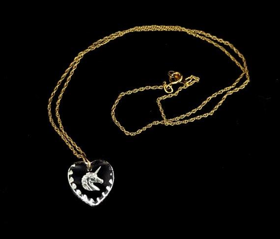 Vintage 14k Yellow Gold Filled Unicorn Glass Hear… - image 2