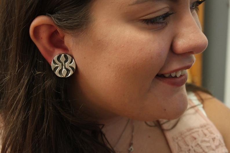 Mid Century Modern Sterling Silver  Raised Organic Design Clip On Earrings