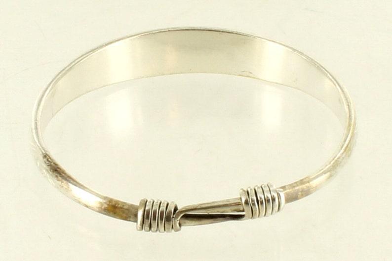 Vintage  Hand ChasedEngraved Heavy Slide Bangle Bracelet Silverplate 8 Adj