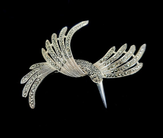 Vintage Sterling Marcasite Bird of Paradise Cute L