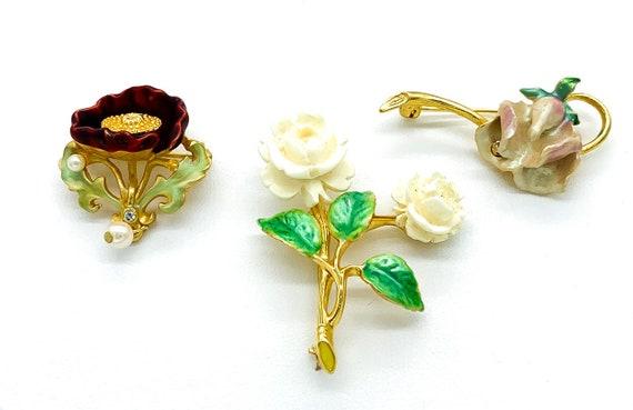 Vintage Joan Rivers Art Nouveau Style Enamel Flora