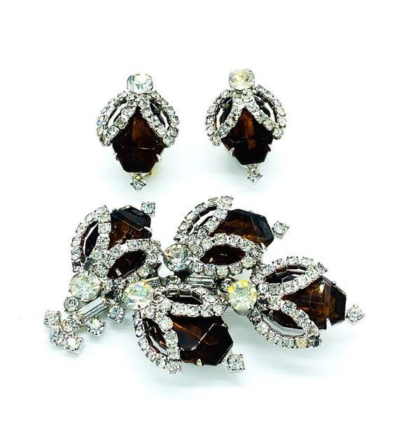 Vintage Mid Century Hobe Diamond & Smokey Quartz C