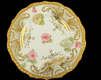 Rare AntiquePouyat Limoges Doubel Gold Drop Flower Rococo HP Cabinet Lunch Wall Plate