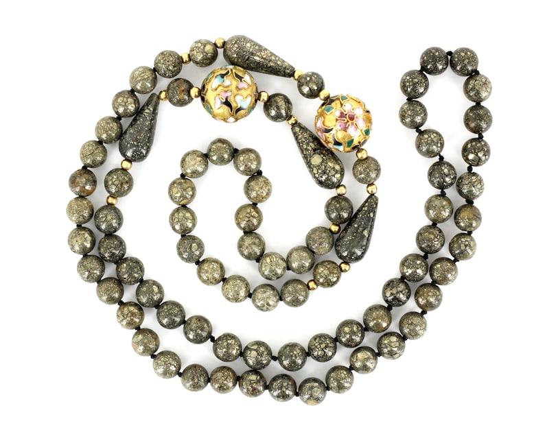 Vintage Floral Champleve Cloisonne Pyrite Beaded Single Strand Necklace 30 Cloisonne Necklace Pyrite Bead Necklace Floral Necklace