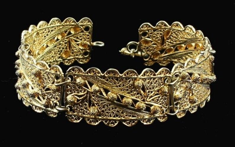 Antique Sterling Bright Gold Vermeil Wire Work Filigree Gorgeous 7 Link Bracelet 1930/'swire work filigree bracelet Deco link bracelet