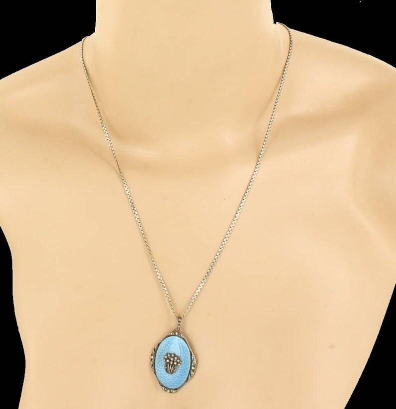 1bfbdee0486c Antique Art Deco Sterling Blue Enamel Austria Pendant Necklace