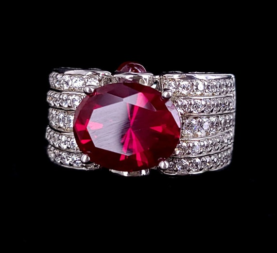 Vintage Sterling Silver Synthetic Ruby Pave Cubic