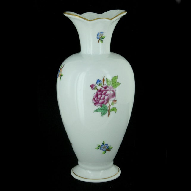 Vintage Herend Old Hungary Vase Queen Victoria Pattern Etsy