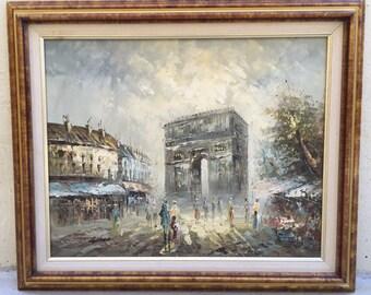 Vintage Parisian Street Scene Painting L'Arc de Triomphe France Oil on Canvas
