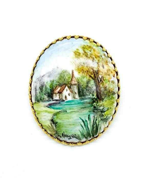 handpainted nature scene cabachon pin
