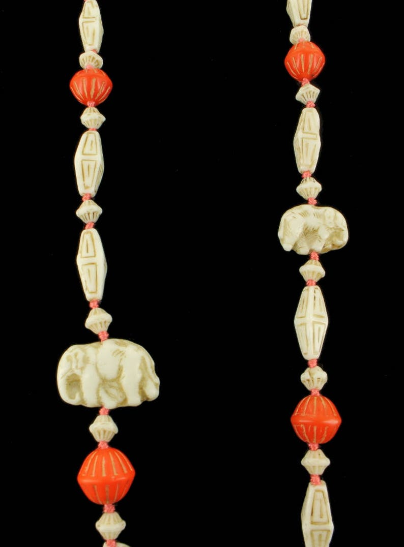 Antique Deco Max Neiger Egyptian Revival Czech Elephant Carved Necklace 30.5