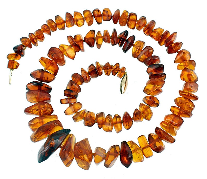 Antique 14k Gold Genuine Graduated Chunk  Russian Baltic Amber 50g Knotted Necklace 24Amber necklaceGood Giftnugget beadsAntique