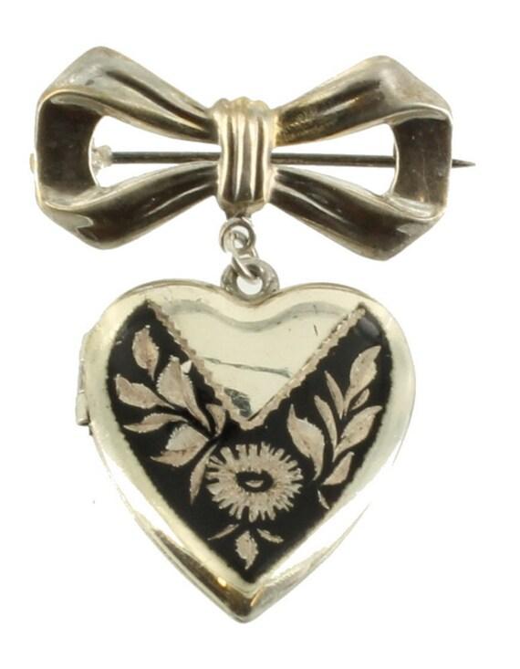 Antique Deco Sterling Heart NielloWare Locket Ribb