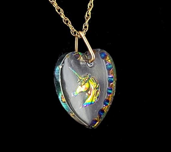 Vintage 14k Yellow Gold Filled Unicorn Glass Hear… - image 3