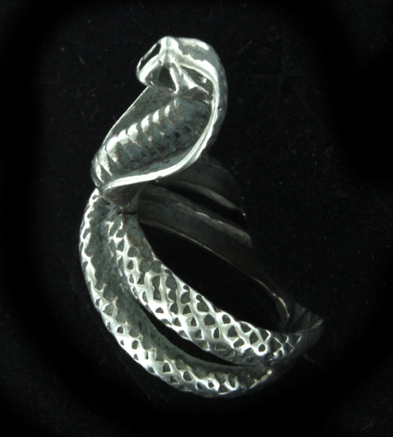 Antique Sterling Victorian Coiled Snake Cobra Hand Made  Ring sz 9.5 Can Be Sized