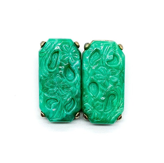Vintage Art Deco Molded Jade Art Glass Rectangle C