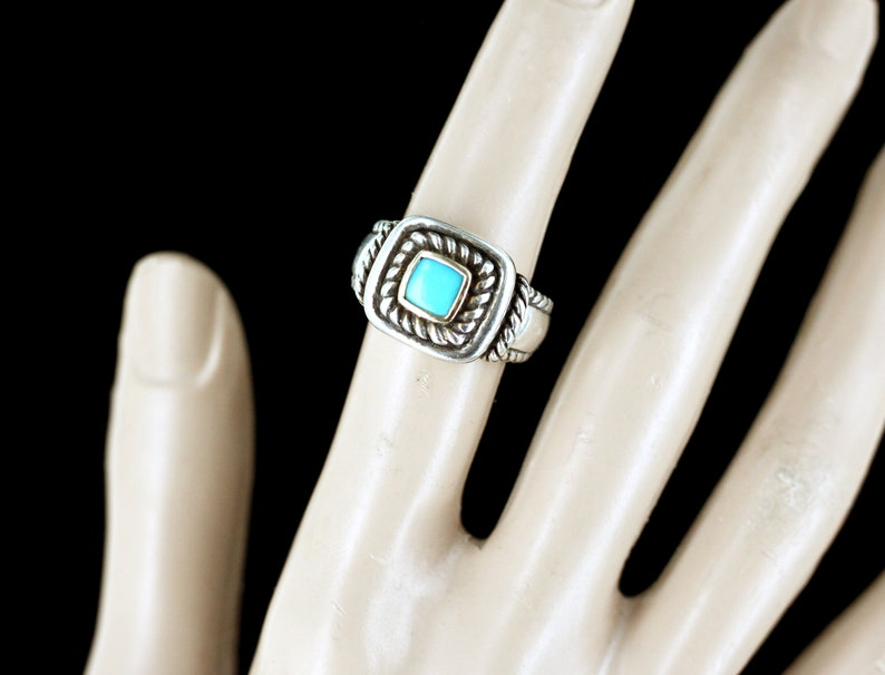Vintage Carolyn Pollack Sterling Silver 14k Twisted Rope Turquoise Ring 7 Southwestern Rope Twisted 925 turquoise Ring Designer Ring