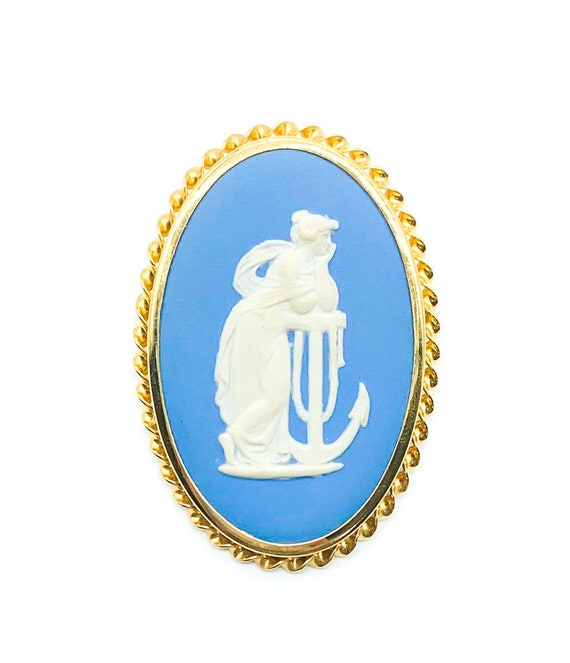 Dark Navy Toned Nautical Anchor Pendant Oval Trinket Jewelry Box