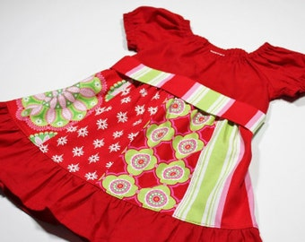 SALE 3-6m, 6-12m, 12-18m and 2T Baby Patchwork Christmas Peasant Dress with Sash - RTS - Ready to Ship