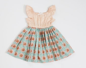 12-24m, 2T, 3T and 4T Flower Fields Peasant Dress RTS