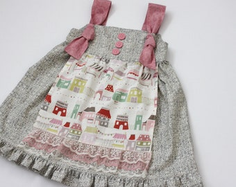 SALE 12-18m Girls Apron Knot Dress Market Stalls -Ready to Ship -Last one!
